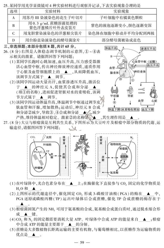 2020高考生物真题及参考答案(江苏卷)