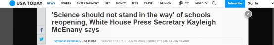 白宫发言人坚称学校要复课:科学不应该挡道