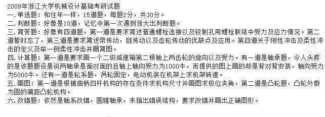 2009年浙江大学机械设计基础考研试题